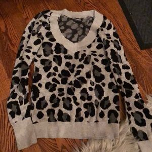 Express cheetah v neck sweater